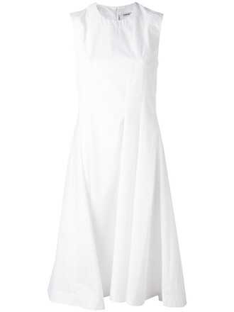 dress midi dress pleated women midi white cotton