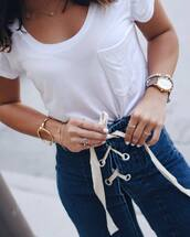 jewels,tumblr,jewelry,gold jewelry,necklace,gold necklace,t-shirt,white t-shirt,denim,jeans,bracelets,gold bracelet,watch