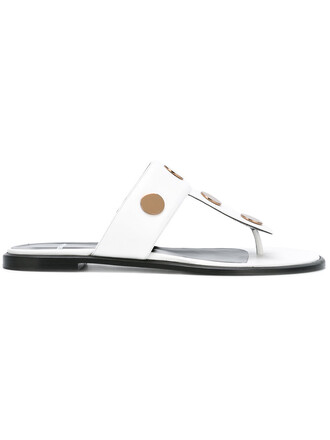studded women sandals flat sandals leather white shoes