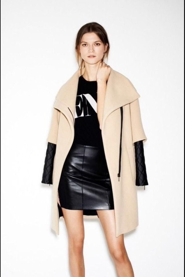 Coat: zara coat with leather sleeves - Wheretoget