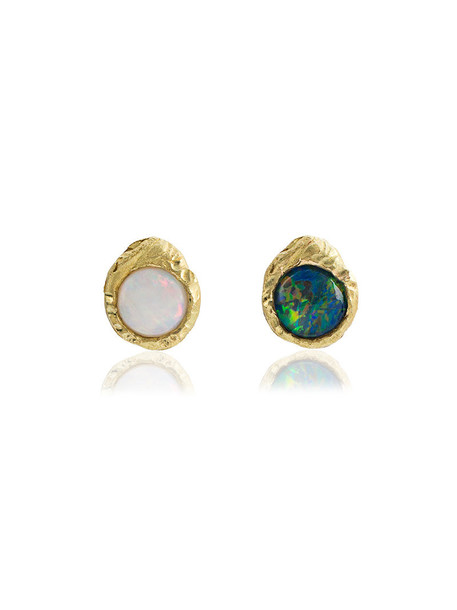 women opal earrings gold blue jewels