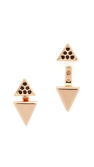 triangle back rose gold rose clear earrings gold jewels