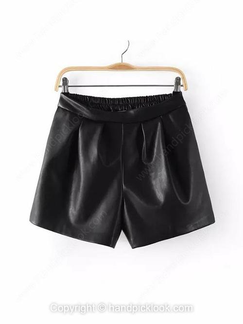 Black PU Elastic Waist Shorts - HandpickLook.com