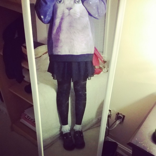 sweater cat sweater galaxy sweater galaxy sweatshirt cute pastel goth kawaii galaxy print oversized sweater
