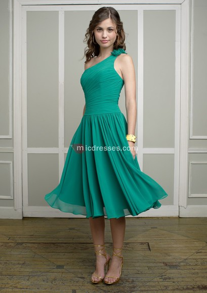one shoulder chiffon a-line knee ruched jade bridesmaid dresses