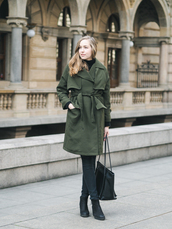 a cup of style,blogger,coat,shoes,bag,green coat,ankle boots,tote bag,black bag,spring outfits