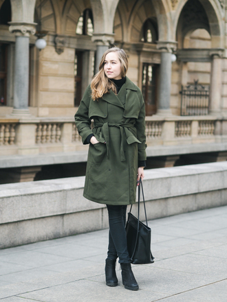 a cup of style blogger coat shoes bag green coat ankle boots tote bag black bag spring outfits