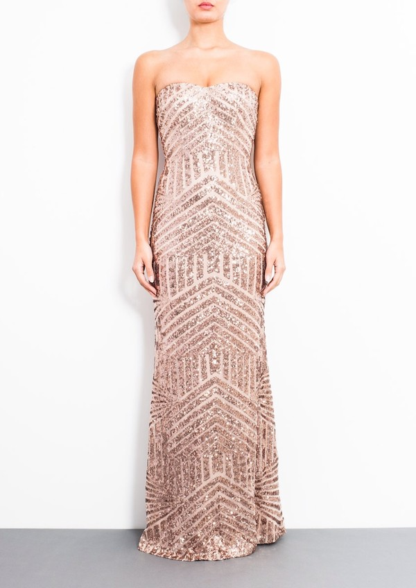 dress gold sequins rose gold gown geometric rose gold strapless