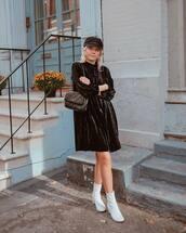 dress,hat,tumblr,mini dress,black dress,long sleeves,long sleeve dress,velvet,velvet dress,boots,ankle boots,white boots,fisherman cap,bag