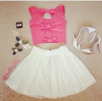 bows pink skirt white cute girly kawaii tulle skirt heels high heels shirt shoes