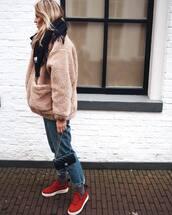 jacket,tumblr,fuzzy jacket,fluffy,beige jacket,beige,denim,jeans,blue jeans,sneakers,slip on shoes,red shoes,socks,bag,black bag,scarf,winter outfits,winter jacket,winter look