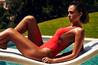 swimwear red one piece swimsuit jessica alba summer editorial