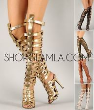 Breckelles sexy strappy high heel gladiator sandal caged studded 5 color diva
