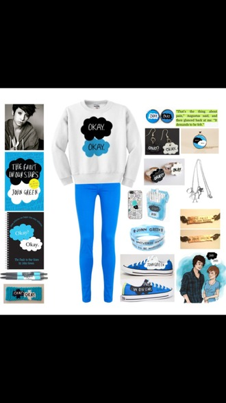 sweater tfios the fault in our stars jeans buttons earrings necklace bracelets sneakers pens