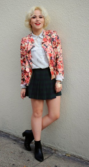 broke hell blogger jacket blouse plaid skirt chelsea boots white shirt floral