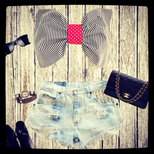 shirt bowtop bow bandeau bow bandeau shorts chanel bag sunglasses