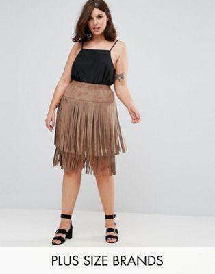 Elvi Suedette Festival Fringe Skirt at asos.com