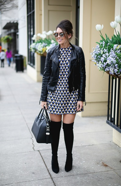 life & messy hair blogger jacket bag sunglasses jewels shoes mini dress black leather jacket handbag givenchy bag thigh high boots boots spring outfits