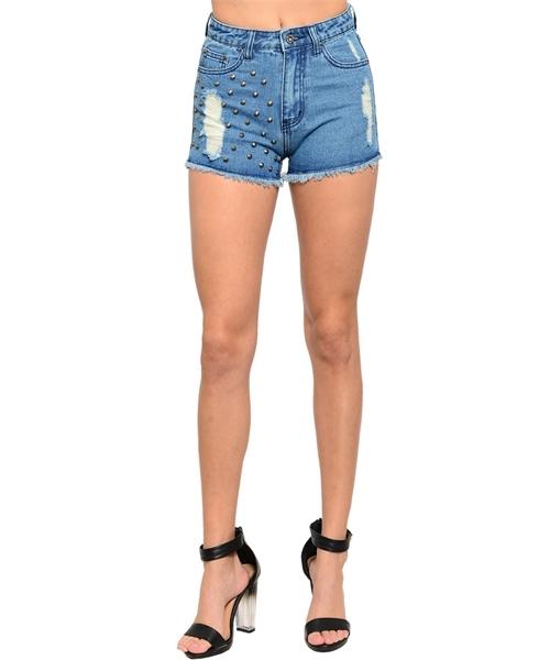 Studded denim high waist shorts