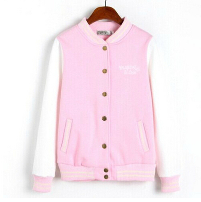 Soft girls style letter with baseball shirt sleeve pink jacket/h0138 · asian fashion kawaii · online store powered by storenvy
