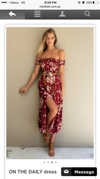dress red dress red flowers pretty summer girl hot pattern print boobtub off the shoulde flora print