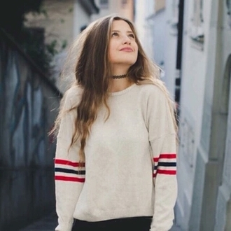 sweater soft white tumblr outfit tumblr cute sweater three lines sweatshirt soft grunge cream beige beige sweater white sweater