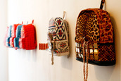 bag,gold,leopard print,aztec,backpack,woven backpack,tribal backppack,mcm,tribal pattern,studs