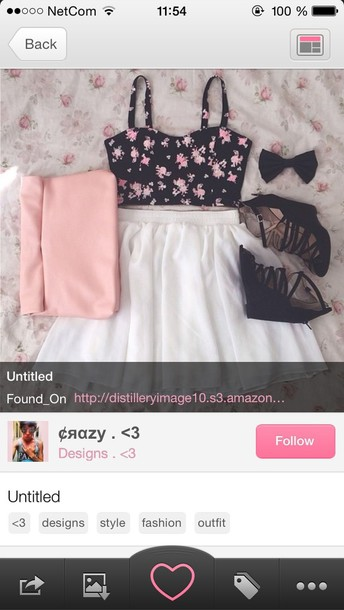 blouse skirt top bag shirt cute white black summer white skirt summer top style summer skirt summer outfits shoes black crop top black with pink flowers