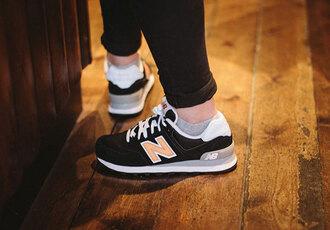 shoes black new balance grey socks black pants favorite style