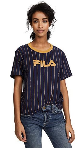 fila t-shirt shirt t-shirt gold navy mustard top