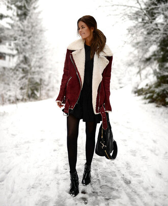 jacket black dress red suede jacket black tights black boots blogger
