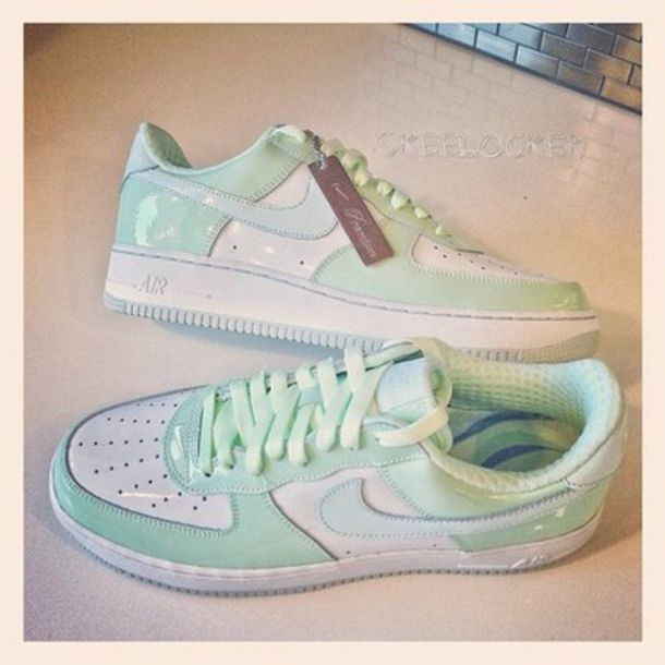 Shoes: mint, pastel, nike sneakers, sneakers, mint green, tumblr ...