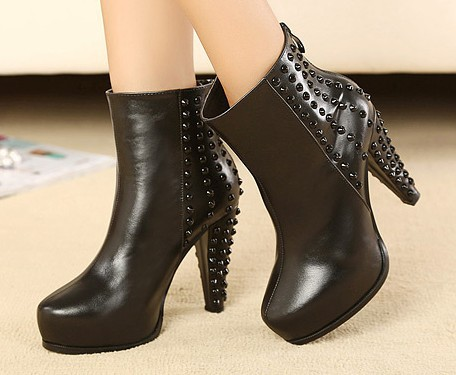 2013 new fashion pu leather studded rivet boots short black high heel boots shoes black white size 35 39-inBoots from Shoes on Aliexpress.com