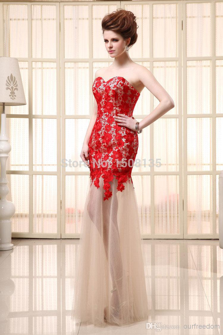 2014 elegent prom dress long red white strapless sweethesrt chiffon strapless backlss prom dresses
