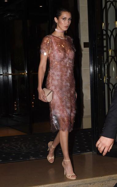 f78ef055bc8 dress midi dress bella hadid sandals dusty pink see through dress