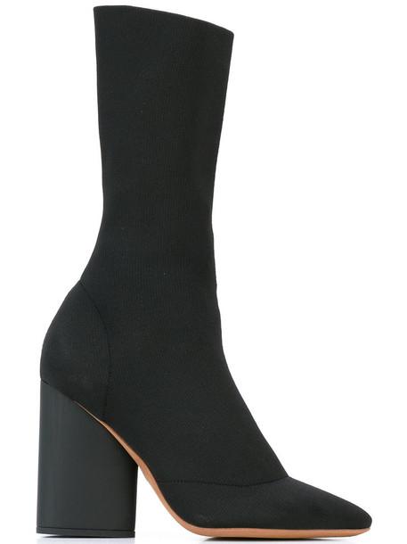 yeezy heel boot high heel high women leather black shoes