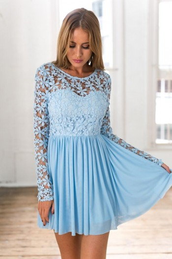 b91b799e0408 Light Blue Long Sleeve Crochet Tulle Skater Dress