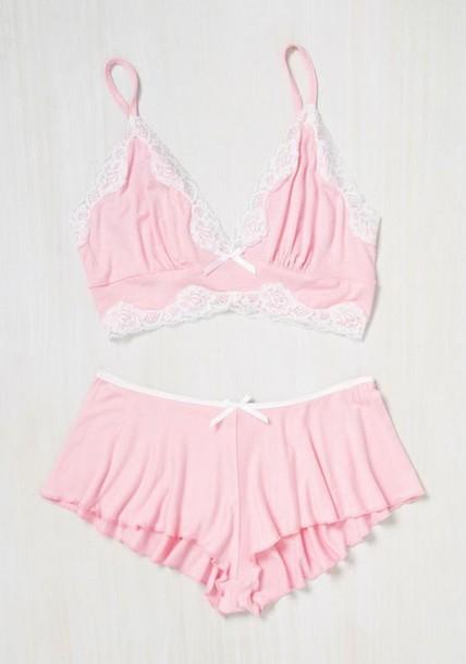 shirt pink pajamas bralette