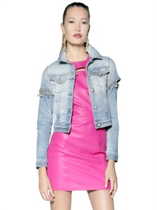 LUISAVIAROMA.COM - VERSUS - PIN EMBELLISHED STRETCH DENIM JACKET