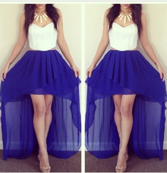dress high-low bustier high-low dresses hi low dresses hi low dress hi-low high-low skirt long high low skirt lace bustier white bustier white lace bustier jewels shoes tank top skirt lace royal blue high low skirt royal blue high low skirt, white bustier