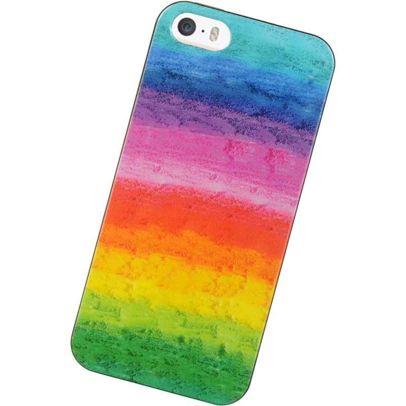 iPhone 5 TPU Hard Cover Phone Case with Painted Rainbow