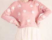 sweater,pink,pastel,heart,pattern,knit,kawaii,cute,baby pink,white hearts,kinda cropped