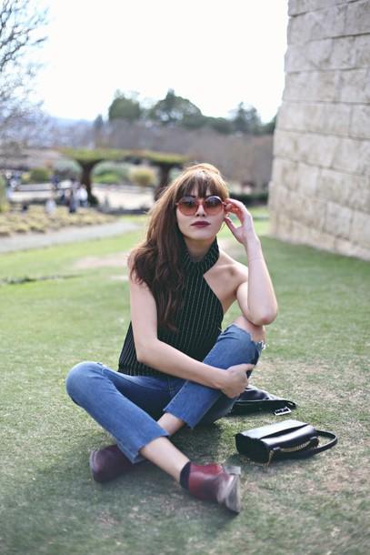 natalie off duty blogger jeans tank top bag jacket shoes sunglasses