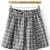 Black White Elastic Waist Plaid Skirt - Sheinside.com
