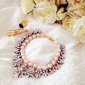 jewels,jewelry,necklace,nail polish,pink,gold,white,pearl,bib necklaces,choker necklace,crystal,hair accessory