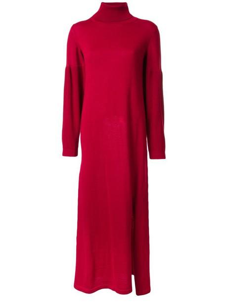 dress knitted dress women slit wool red