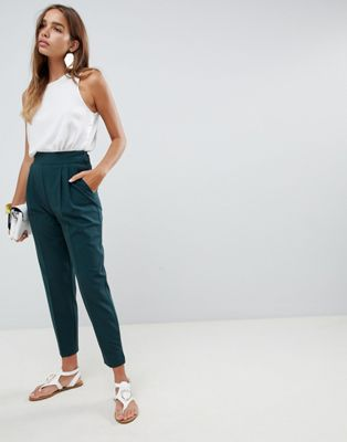 ASOS DESIGN high waist tapered trousers at asos.com
