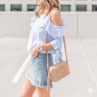 top tumblr blue top off the shoulder off the shoulder top denim denim skirt mini skirt bag nude bag bracelets silver bracelet jewels skirt