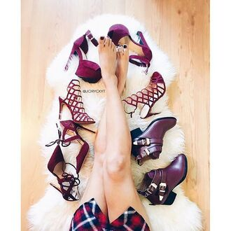 shoes burgundy oxblood fall outfits fall shoes stilettos heels plaid booties chunky sole chunky heel gojane