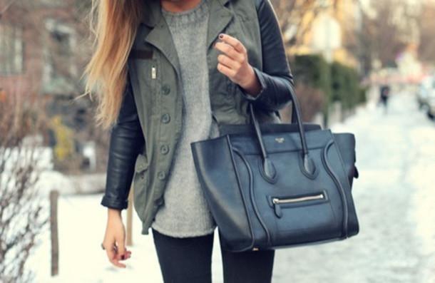 coat celine bag jacket navy green leather leather jacket black bicolor green grunge